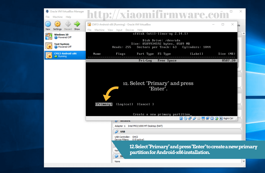 Primary partition for Android-x86 installation