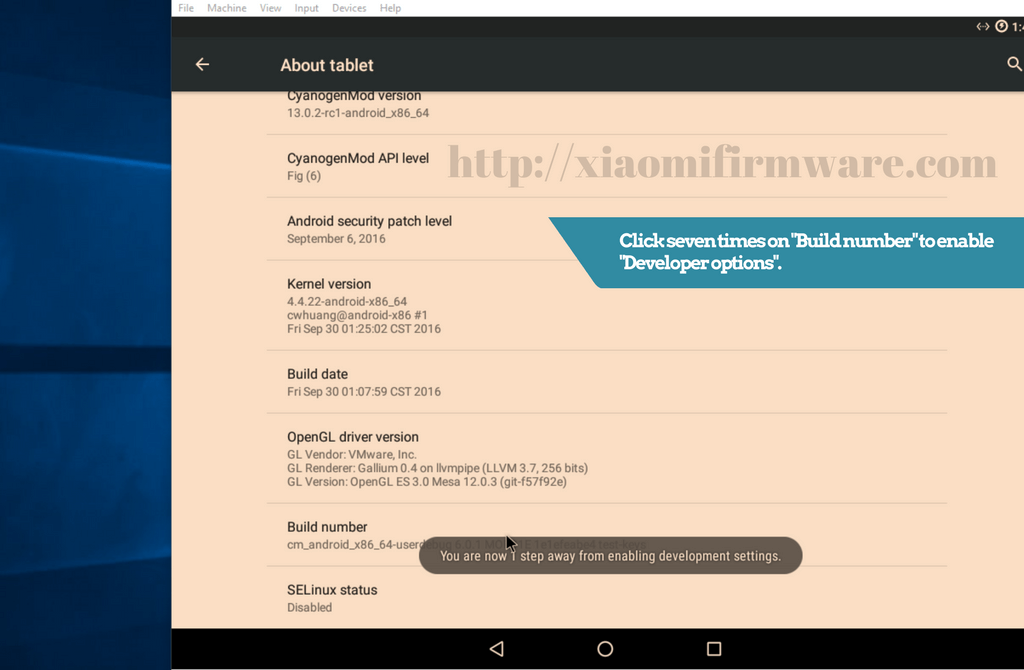 Enable Developer options on Android-x86 - Xiaomi Firmware