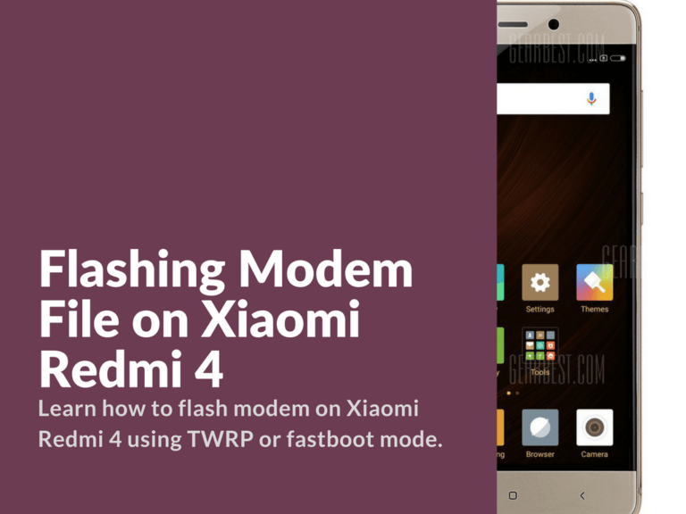 Flashing Modem File on Xiaomi Redmi 4