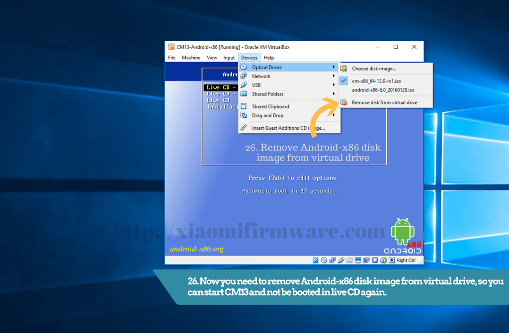 Remove Android-x86 disk image from virtual drive - Xiaomi Firmware