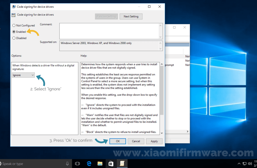 unsigned driver installation behavior windows 10