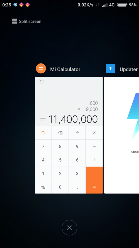 how to use split screen on miui9