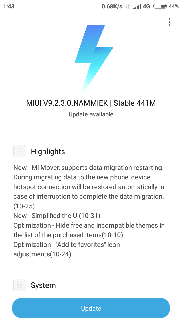 MIUI ROM update for Redmi 4X